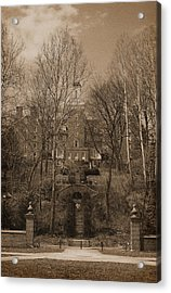 Ohio University Bryan Hall Sepia Acrylic Print by Karen Adams