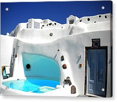 Oia Santorini  With Direct View To The Oceon Greece Acrylic Print by Colette V Hera  Guggenheim
