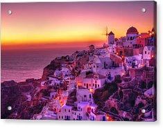 Oia Sunset Acrylic Print