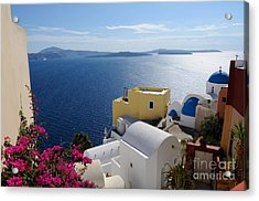 Oia Village In Santorini Island  Acrylic Print by Haleh Mahbod