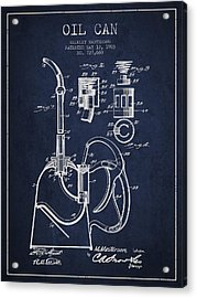 Oil Can Patent From 1903 - Navy Blue Acrylic Print by Aged Pixel
