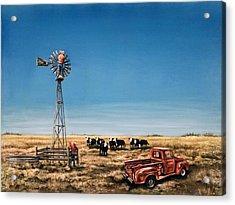 Oil Change Acrylic Print by Laurie Tietjen