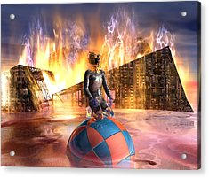 Oil Child Night Of The Fire #19_dd Acrylic Print by Stephen Donoho