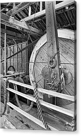 Oil Drill Flywheel Acrylic Print by Trever Miller