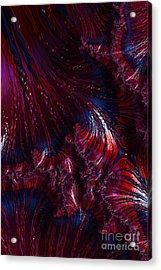 Oil On Water - A Fractal Abstract Acrylic Print by Ann Garrett