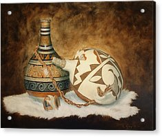 Oil Painting - Indian Pots Acrylic Print