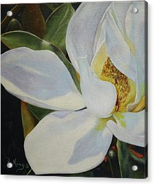 Acrylic Print featuring the painting Oil Painting - Sydney's Magnolia by Roena King