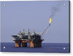 Oil Production Platform With Flare Acrylic Print