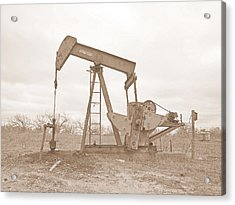 Oil Pump In Sepia Acrylic Print