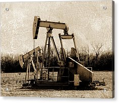 Oil Pump Jack In Sepia Acrylic Print