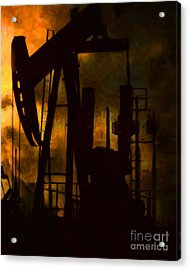 Oil Pumps - Vertical Acrylic Print by Wingsdomain Art and Photography