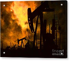 Oil Pumps Acrylic Print by Wingsdomain Art and Photography