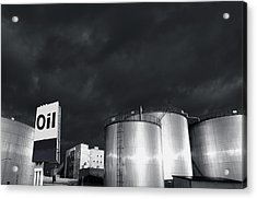 Oil Refinery At Sunset With Commercial Sign Acrylic Print