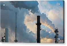 Oil Refinery Towers Acrylic Print by Jim West