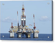 Oil Rig And Helicopter Acrylic Print