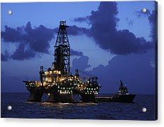 Oil Rig And Vessel At Night Acrylic Print