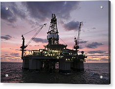 Oil Rig At Dawn Acrylic Print