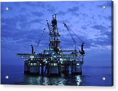 Oil Rig At Twilight Acrylic Print