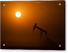 Oil Rig Pumping At Sunset Acrylic Print by Connie Cooper-Edwards