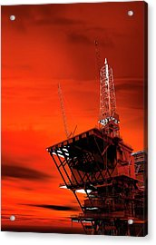 Oil Rig Acrylic Print by Victor Habbick Visions