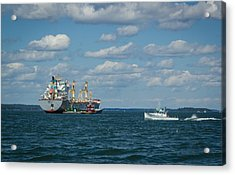 Acrylic Print featuring the photograph Oil Tanker And Lobster Boat by Jane Luxton