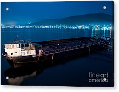 Oil Tanker At Night Acrylic Print by Ciprian Kis