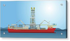 Oil Well Drilling Ship Acrylic Print