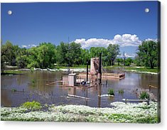Oil Well Flooded By River Acrylic Print by Jim West