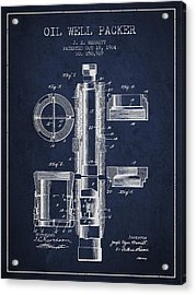 Oil Well Packer Patent From 1904 - Navy Blue Acrylic Print