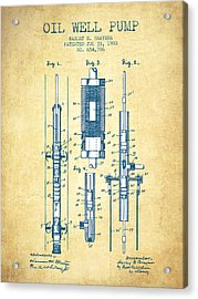 Oil Well Pump Patent From 1900 - Vintage Paper Acrylic Print by Aged Pixel