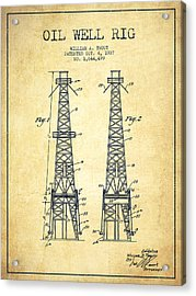 Oil Well Rig Patent From 1927 - Vintage Acrylic Print by Aged Pixel