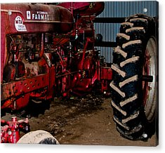 Oiled Tractor Acrylic Print by Nickaleen Neff