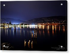Okanagan Lake At Night Acrylic Print by Guy Hoffman