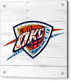 Okc Thunder Basketball Team Retro Logo Vintage Recycled Oklahoma License Plate Art Acrylic Print by Design Turnpike