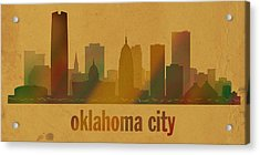 Oklahoma City Skyline Watercolor On Parchment Acrylic Print