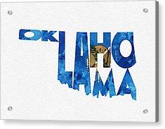 Oklahoma Typographic Map Flag Acrylic Print by Ayse Deniz