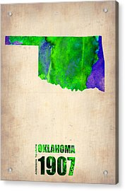 Oklahoma Watercolor Map Acrylic Print by Naxart Studio