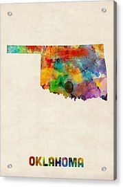 Oklahoma Watercolor Map Acrylic Print by Michael Tompsett