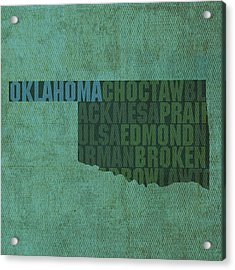 Oklahoma Word Art State Map On Canvas Acrylic Print by Design Turnpike