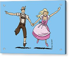Oktoberfest Couple Dancing Together Acrylic Print by Frank Ramspott