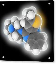 Olanzapine Drug Molecule Acrylic Print by Laguna Design