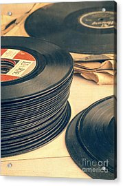 Acrylic Print featuring the photograph Old 45s by Edward Fielding