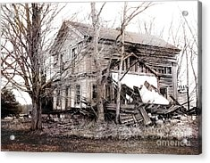 Old Abandoned Farmhouse Michigan Landscape Acrylic Print by Kathy Fornal