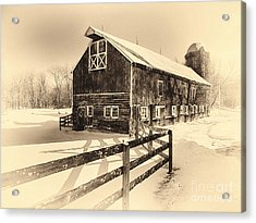 Old American Barn On Snow Covered Land Acrylic Print by George Oze