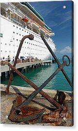 Old Anchors Near Cruise Ship Acrylic Print