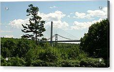 Old And New Bridges Over Penobscot Acrylic Print by David Fiske
