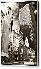 Old And New In Boston Acrylic Print by John Rizzuto