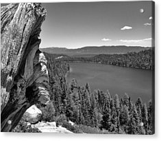 Old And New Of Cascade Lake B And W Acrylic Print
