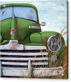 Old And Rusty Vintage Ford Realism Auto Scene Acrylic Print by Linda Apple