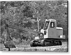 Old Backhoe Acrylic Print by Tara Potts